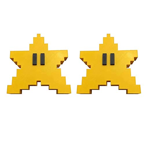 Misis Christmas Tree Topper Star With retro classic games 3D pixel sponge star yellow 5.91 Inches (H) Tree Topper For Winter/Holiday Home Wonderland Party Ornament, Crown Christmas Tree