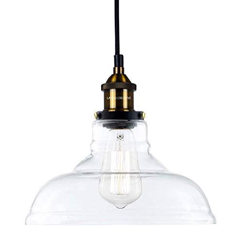 Lantu Creative - Lampadario in vetro trasparente/lampada a sospensione rotonda retrò, industriale