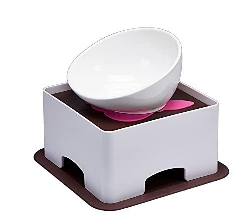 YMAXGO French Bulldog Food Bowl Set,English Bulldog Cub Food Plate + Height Adjustable Bracket (White)