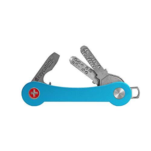 keycabins Aluminium S1 Schlüssel Organizer organisiert bis zu 12 Schlüssel - Schlüsselhalter hergestellt in der Schweiz - nachhaltiger Key Holder inkl. Flaschenöffner mit Schraubenzieher (Light Blue)