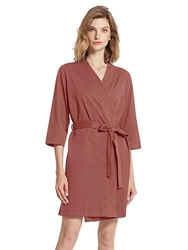 SIORO Damen Morgenmantel, Baumwolle, Kimono, Robe, Strick, Damen, Bademantel, Nachtwäsche, kurz S-XXXL Gr. 48, Redwood