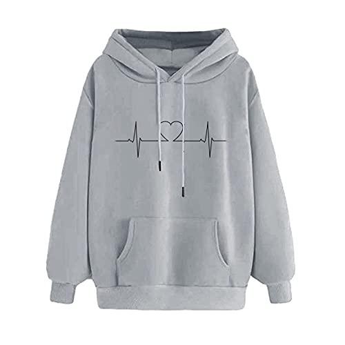 MEIPIQI Y2K 2021 - Sudadera con capucha para mujer, cuello redondo, manga larga, estilo retro, gris, S