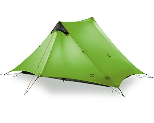 MIER Ultralight Tent 3-Season Backpacking Tent for 1-Person or 2-Person Camping, Trekking, Kayaking, Climbing, Hiking (exclude Trekking Pole) (Green, 2-Person)