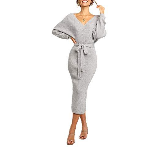 N\P Elegante cuello en V de manga larga vendaje de punto otoño vestido de invierno de las mujeres lateral dividido envoltura de cadera vestido de fiesta túnica