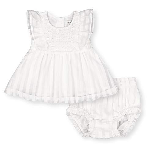 Hope & Henry Layette bebé niña tela Swing parte superior y volantes florero conjunto de 2 piezas, Blanco (White Shadow Stripe), 3-6 Meses