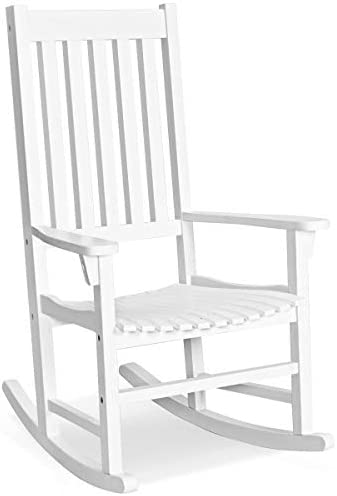 Best Giantex Rocking Chair Acacia Wood Frame Outdoor& Indoor for Garden, Lawn, Balcony, Backyard and Pati