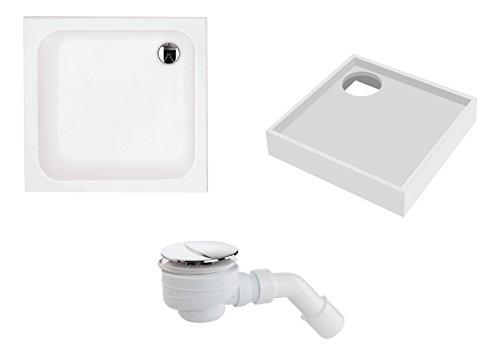 'aquaSu® Acryl-Brausewannen Set | Brausewanne, Wannenträger und Excenter Ablaufgarnitur | 80 x 80 x 4 cm | Weiß
