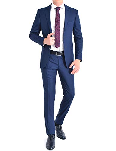 keskin collection Anzug Herren Blau Dunkelblau Slim Fit Anzug Herrenanzug NEU Herrenanzug (46)