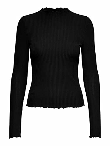 Only Onlemma L/s High Neck Top Jrs Camisa Manga Larga, Negro (Black Black), Medium para Mujer