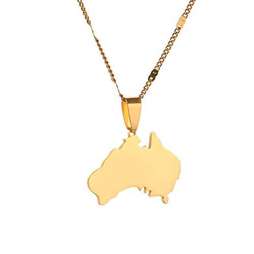 Collana con ciondolo in acciaio inox The Commonwealth of Australia Mappa Paese AUS Gioielli e Acciaio inossidabile, colore: Oro, cod. G9