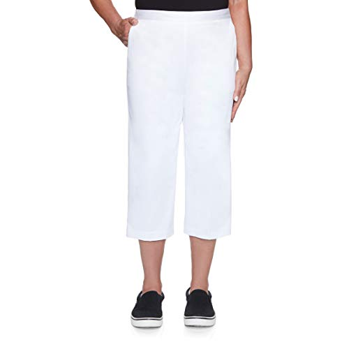 Alfred Dunner Women's Twill Classic FIT Capri Pant, White, 12