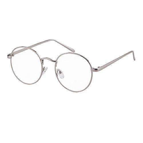 ADEWU Retro Nerdbrille Klassisches Rund Rahmen Glasses Damen Herren (Silber)