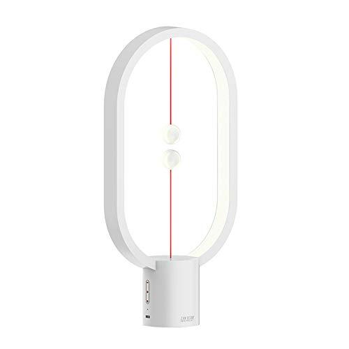 Kuinayouyi USB recargable equilibrio LED lámpara de mesa elipse magnético medio aire interruptor ojo cuidado noche prensa luz control luz -blanco