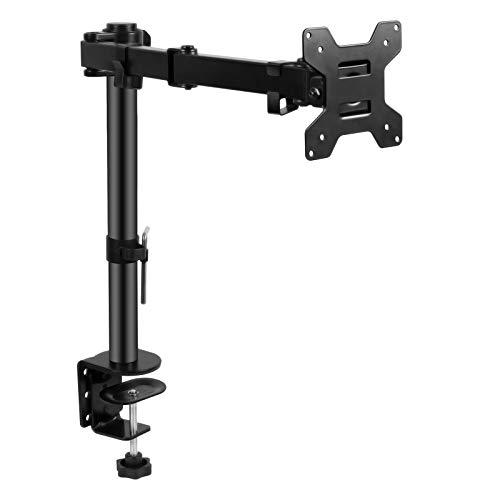 SunJas 13-32 Zoll Monitor Halterung Höhenverstellbar, Bildschirm Halterung Tischklemme und Tüllenmontage 2 Montageoptionen, VESA 75/100, 10 Kg