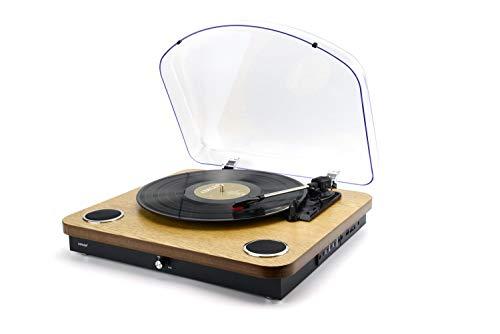 Denver VPL-210 Wood Plattenspieler - Bluetooth-Verbindung, SD-Karteneingang, USB-Anschluss, Tonographie-Anschluss, Digitale Aufnahme, Lautstärke 5 W, Holzfinish.