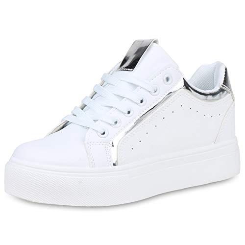 SCARPE VITA Damen Plateau Sneaker Leder-Optik Plateauschuhe Schnürer Metallic Schuhe Lack Freizeit Turnschuhe 191411 Weiss Silber Metallic 38