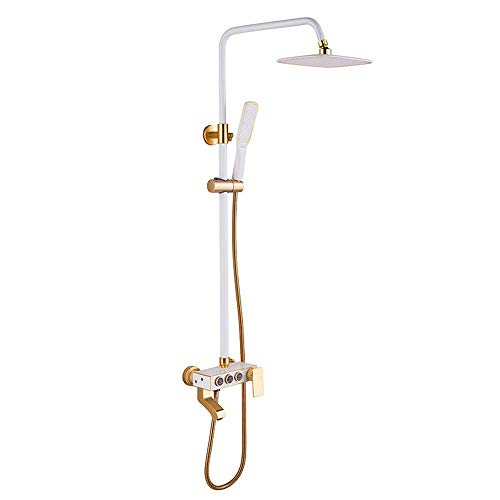 AMAFS Juego de Ducha de Aluminio Espacial Ducha de Oro Blanco Europeo Juego de Ducha de baño Oculto Cabezal de Ducha Happy House
