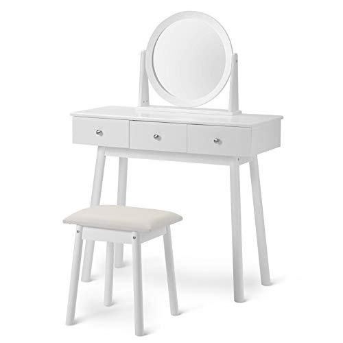 Juego de tocador blanco con espejo y taburete para niñas con 3 cajones, dormitorio con taburetes, cajones, espejo, dormitorio, vestidor, color blanco