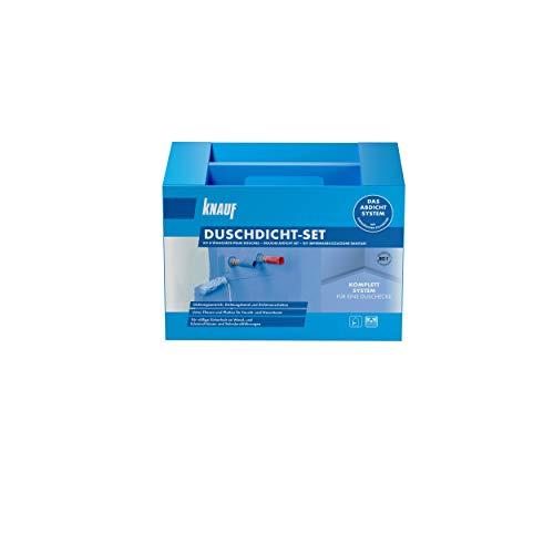 Knauf Duschdicht-Set, Praktisches Abdichtungs-System zur Duschkabine – Sanitär-Dichtung, Flexibel, Rissüberbrückend bis 2 mm, Silikon-Verträglich, für Boden- und Wand-Heizungen geeignet, blau, 1 Set