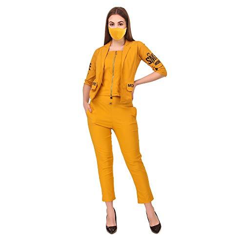 Neysa Women's Cotton Lycra Yellow Dress with Face Mask