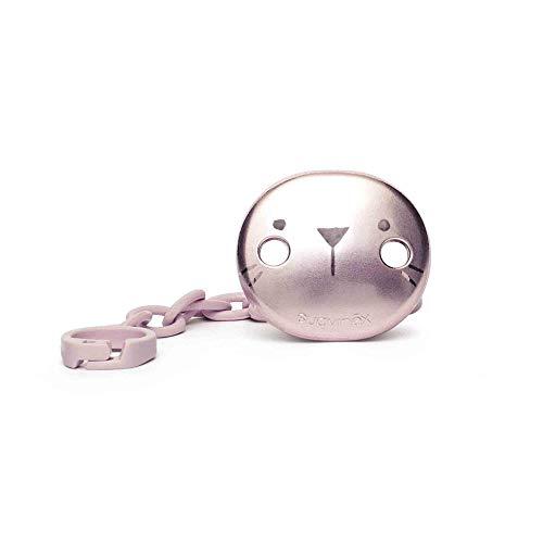 Suavinex - Broche premium de chupetes para bebés +0 meses. Broche joya efecto metalizado mate. Con nueva placa más pequeña. 0% BPA. Color rosa.