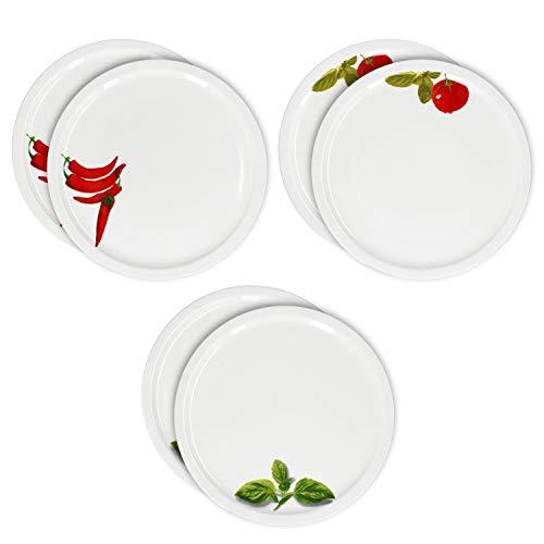 MamboCat - 6 piatti da pizza grandi, diametro 32 cm, 6 pezzi, rotondi, con disegni di pomodori, peperoncino e basilico, piatti da portata con fantasie, per 6 persone