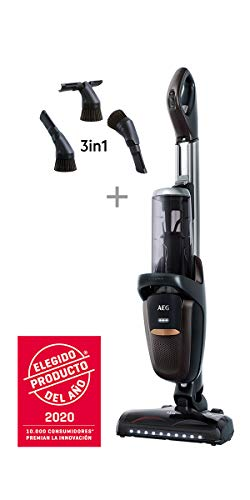 AEG FX9-1-4IG Aspiradora Escoba Sin Cable 360 Sin Bolsa, Bateria 36V de hasta 60 Minutos, 3 Velocidades, Ergonómico, 82dB, Función Parking, Luces Cepillo LED, Depósito 0.7L, Gris Metálico