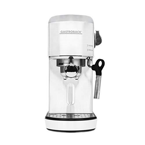 GASTROBACK #42717 Design Espresso Piccolo, Espressomaschine mit Milchaufschäumdüse, 19 bar Pumpendruck, schnelles Aufheizen (40 Sekunden), weiß