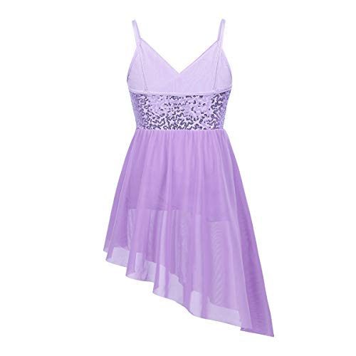 Agoky Girls Shiny Sequins V-Neck Spaghetti Straps Irregular Dance Dress Latin Modern Lyrical Dancewear Lavender 12-14 Years