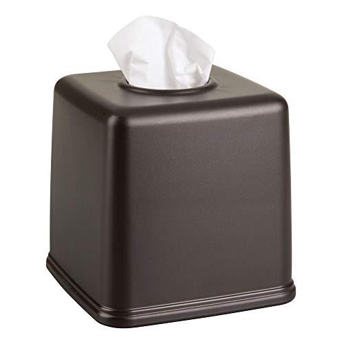 mDesign Plastic Square Facial Tissue Box Cover Holder for Bathroom Vanity Countertops, Bedroom...