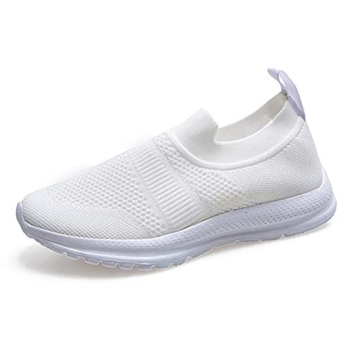 Lilygodx Mujer Zapatillas de Fitness Outdoor Antideslizante Deporte Malla Air Cuña Cómodos Sneakers Señora Casual Running Senderismo Ligero Mesh Zapatillas Gris Negro Blanco Púrpura 36-40