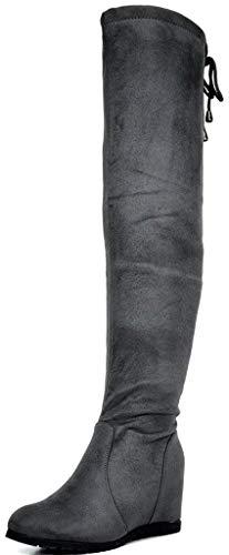DREAM PAIRS Damen Overknees Stiefel mit Keilabsatz Wildleder Winterstiefel Leggy Grau Größe 8.5 M US / 39.5 EU