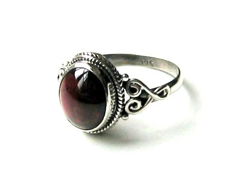 Shanya 925 Sterling Silver Ethnic Ring Red Garnet. Stone size 9 X 11 mm. Handcrafted Jewellery - Beautiful Gift. UK Size K.