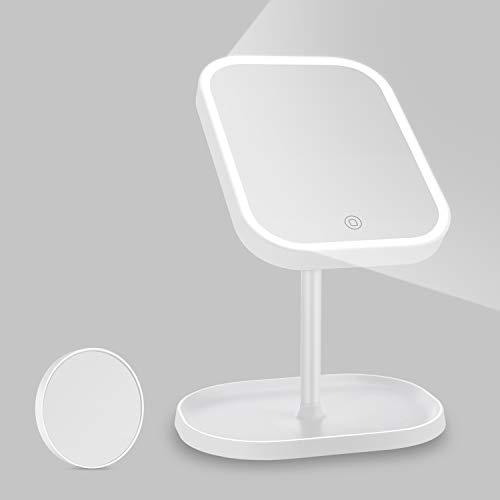 Kasimir Kosmetikspiegel mit Licht Schminkspiegel mit LED Beleuchtung Make Up led Spiegel mit einer Lupe Batterie und USB-Netzteil - Touch-Screen - Weiß