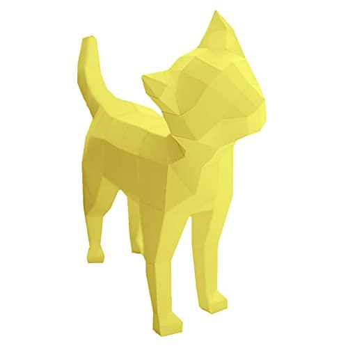WLL-DP 3D Cabeza Inclinada Gato Origami Rompecabezas DIY Escultura De Papel Juego Hecho A Mano Modelo De Papel Creativo Papel Artesanal Geométrico Decoración del Hogar Juguete De Papel,Amarillo