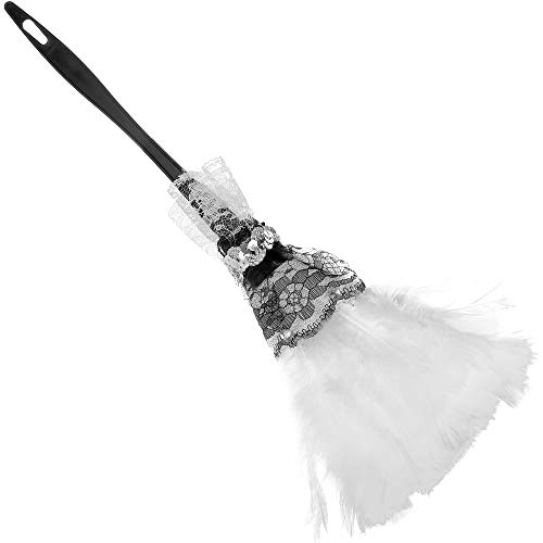 Skeleteen Feather Duster Maid Accessory - Soft White Cleaning Feather Dust Broom Costume Accessories Prop for French Maid Costumes