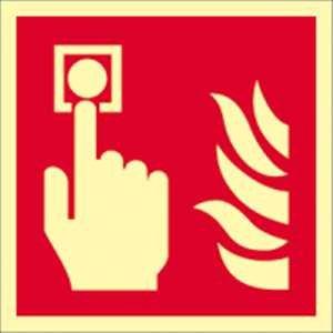Brandmelder volgens ISO 7010 HIGHLIGHT160 aluminium 0,4 mm Formaat: 14,8 x 14,8 cm met getemperde glazen kogelverzegeling Lichtdichtheid: HIGHLIGHT 160 mcd/m2 volgens ISO 7010, F005