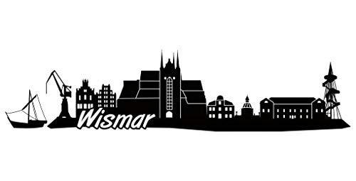 Samunshi® Wismar Skyline Aufkleber Sticker Autoaufkleber City Gedruckt in 7 Größen (15x3,6cm schwarz)