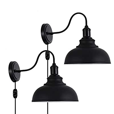 Larkar Dimmable Vintage Wall Lamp Black Industrial Vintage Farmhouse Wall Sconce Lighting Gooseneck Wall Light Fixture with Plug in Cord and On Off Toggle Switch for Bedroom Nightstand, Set of 2