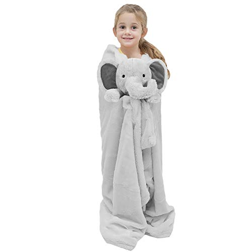 Joyching Kid Blanket Super Soft Fleece Throw Blanket 36quot x 48quot Weighted Blanket Duvet Cover Toddler Cute Stuffed Plush Animal Doll Toy Nap Blanket Set for Child Room Decor Grey Elephant
