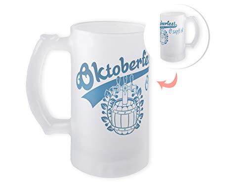 GRAZDesign Bierkrug Oktoberfest, Bierglas satiniert, Geschenk zum Fest, Geburtstag, Geschenkidee, Motiv Blau O zapft is 470ml