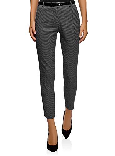 oodji- Collection Mujer Pantalones Ajustados con Cinturón, Gris
