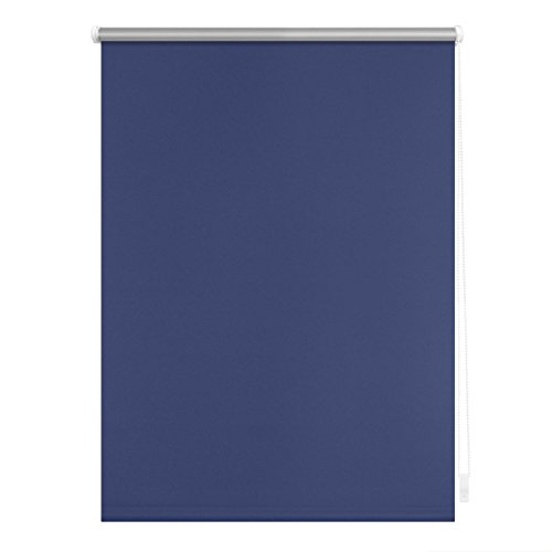 Lichtblick Verdunklungsrollo Klemmfix, 60 cm x 150 cm (B x L) in Blau, ohne Bohren, Sonnen-, Sicht-, Hitze- & Kälte-Schutz, reflektierende Thermo-Rollo Funktion, Verdunkelung für Fenster & Türen
