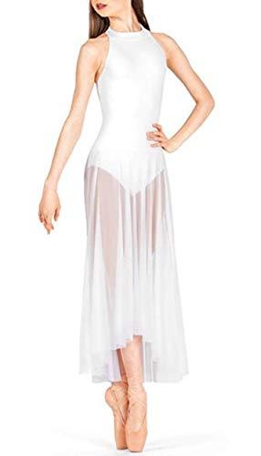 Freebily Vestido Largo de Danza Contemporanea Ballet Mujer Maillot Gimnasia Clásico Adultos Bodys Básico Leotardo con Tutú Falda Mallas Deportiva Niñas