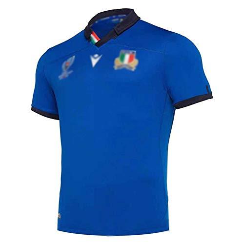 LQLD Italien 2019 Weltcup Rugby-Trikots, Männer, die schnell trocknende Polyester-Sportkleidung, Trainings-Trikots, Kurzarm-T-Shirt,Blau,3XL