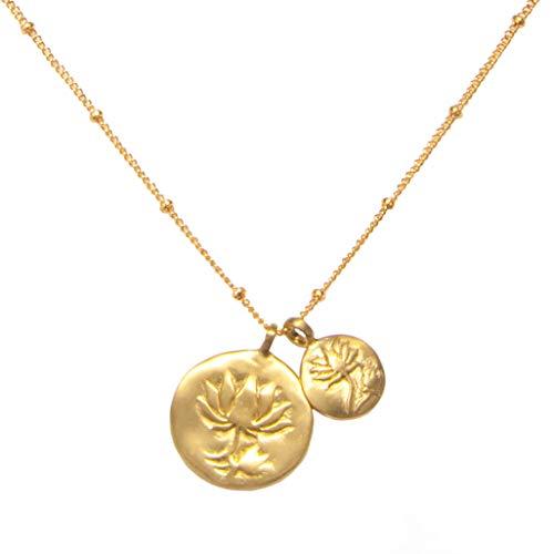 Satya Jewelry Kette Damen Gold - Blossom Necklace 2 Coin Anhängern mit Lotus Blüten - Silber 925 Vergoldet - NG301-L18-B