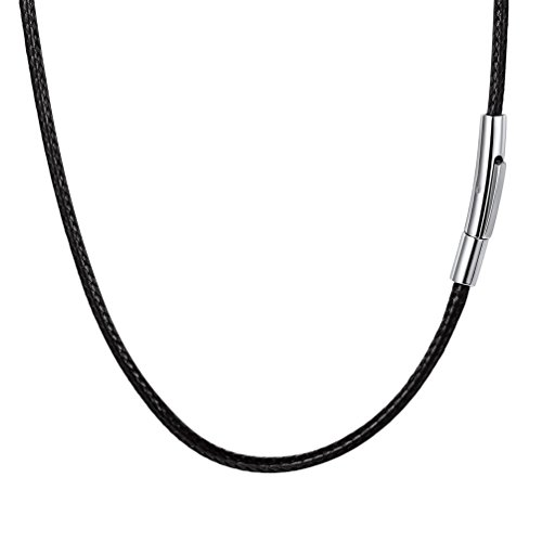 PROSTEEL Men Choker Leather Necklace 18 Inch Stainless Steel Cord String Rope Chain Jewelry Black