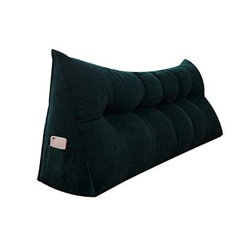 Cama Cojín De Lectura Almohada Respaldo, Almohadas Lumbares Lectura, Relleno Esponja Tela, Esponjoso Suave, Lavable, 5 Colores, Personalizable PENGFEI (Color : Dark Green, Size : 60cm)