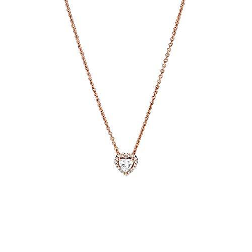 Pandora Collar con colgante de corazón de aleación chapada en oro rosa de 14 quilates, 45 cm
