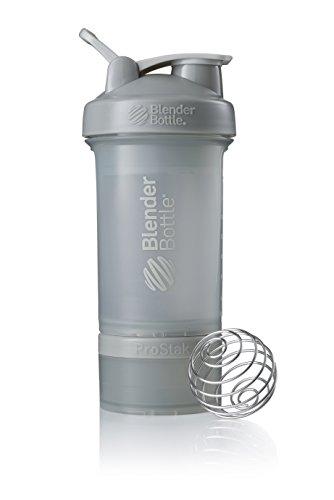 BlenderBottle ProStak Full Color Botella de Agua y Accesorios, Unisex Adulto, Gris guijarro, 650 ml